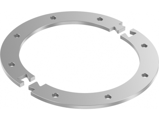 Flange 2-parted with hole pattern acc. To DIN 24154, T2