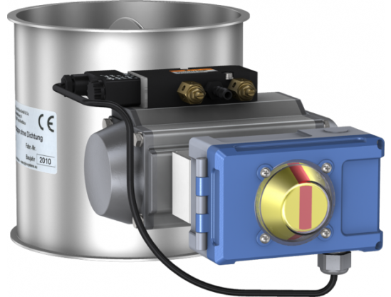 Throttle- / Shut-off valves without seal, pneumatically operated with rotary actuator