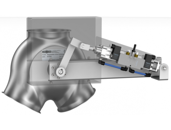 Two-way valves with inlet collar, symmetrical, fitted with pneumatic cylinder