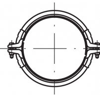 Pull-rings for cast-iron piping, galvanised with seal